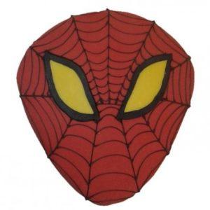 Rød, svart og gul kake formet som ansiktet til Spider Man